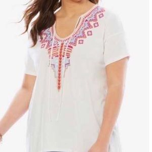 Woman Within Embroidered Tie Front Tunic 3X White